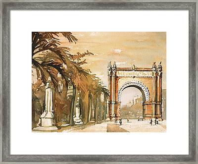 Framed Print featuring the painting Arch- Barcelona, Spain by Ryan Fox