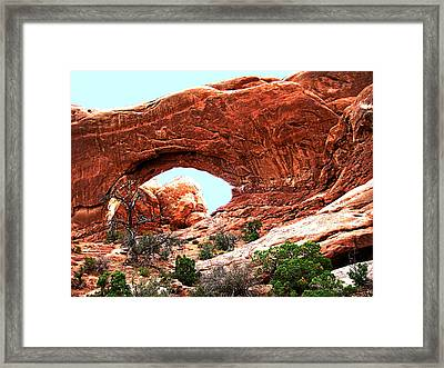 Framed Print featuring the digital art Arch Face by Gary Baird