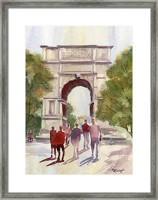 Arch Of Titus Framed Print by Marsha Elliott