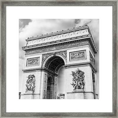 Arch Of Triumph - Paris - Black And White Framed Print