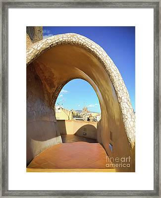 Framed Print featuring the photograph Arch On The Rooftop Of The Casa Mila by Colleen Kammerer