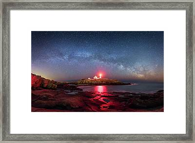 Arch Over Nubble - Panorama Framed Print by Michael Blanchette
