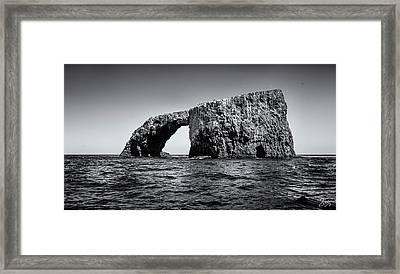 Framed Print featuring the photograph Arch Rock Three In Black And White by Endre Balogh