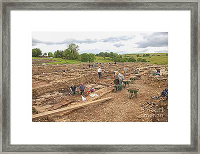 Archaeologists At Work At Roman Vindolanda Framed Print