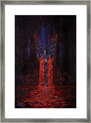 Archangel Evokes Through Nights Womb Framed Print by Stephen Lucas