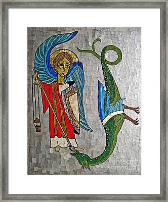 Archangel Michael And The Dragon    Framed Print by Sarah Loft