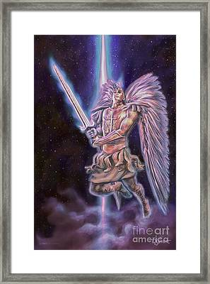 Framed Print featuring the painting Archangel Michael - Starstuff by Dave Luebbert