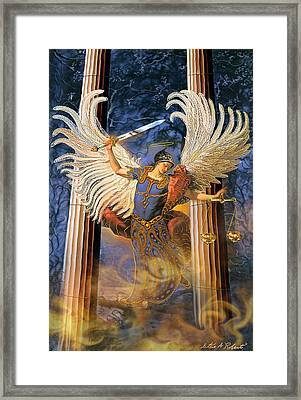 Framed Print featuring the painting Archangel Raguel by Steve Roberts