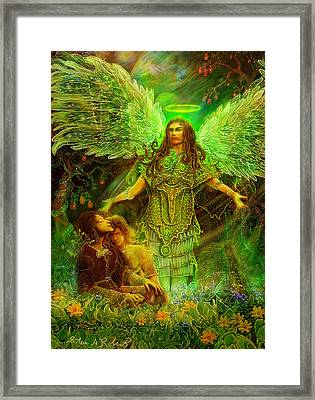 Framed Print featuring the painting Archangel Raphael by Steve Roberts