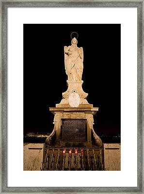 Archangel Saint Raphael Statue At Night In Cordoba Framed Print