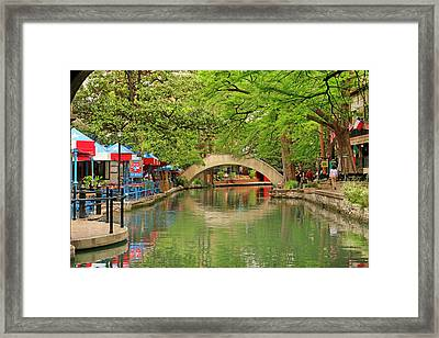 Framed Print featuring the photograph Arched Bridge Reflection - San Antonio by Art Block Collections