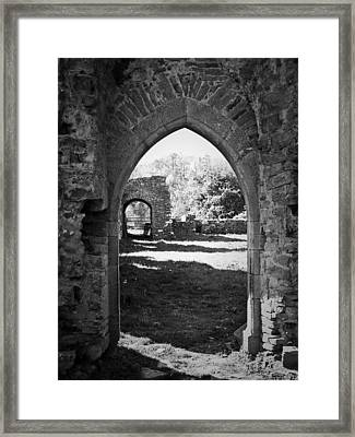 Arched Door At Ballybeg Priory In Buttevant Ireland Framed Print by Teresa Mucha