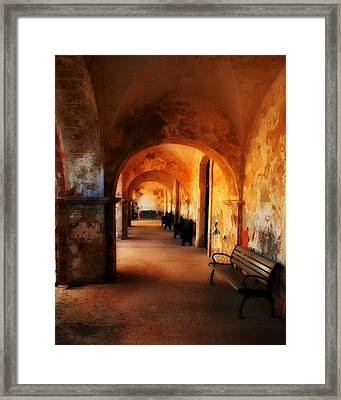Arched Spanish Hall Framed Print by Perry Webster