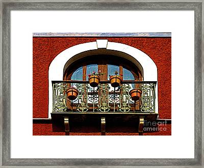 Arched Window With Flowers Framed Print by Mexicolors Art Photography