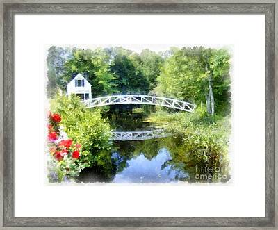 Arched Wooden Foot Bridge Mount Desert Island Acadia Maine Framed Print by Edward Fielding