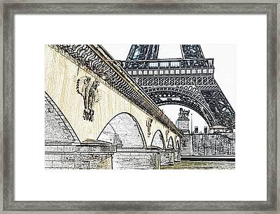 Arches And Imperial Eagles On Pont D'lena Below Eiffel Tower Paris France Colored Pencil Digital Art Framed Print by Shawn O'Brien