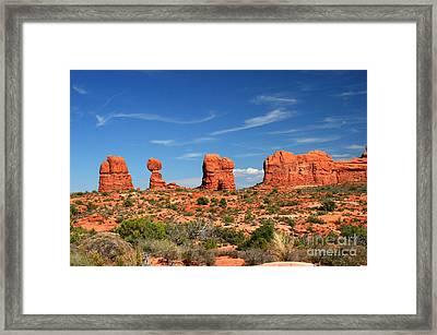 Arches National Park - Hoodoos Carved In Entrada Sandstone Framed Print