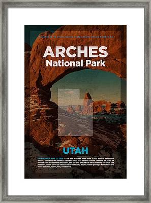 Arches National Park In Utah Travel Poster Series Of National Parks Number 02 Framed Print