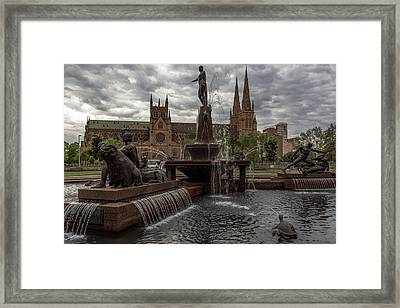Archibald Fountain And St Mary's Cathedral Framed Print