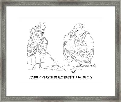 Archimedes Explains Circumference To Diabetes Framed Print by Trevor Irvin