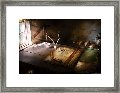 Architect - The Drafting Table  Framed Print by Mike Savad
