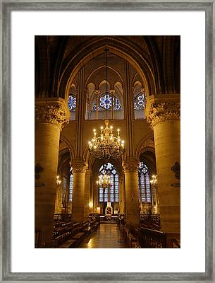 Architectural Artwork Within Notre Dame In Paris France Framed Print