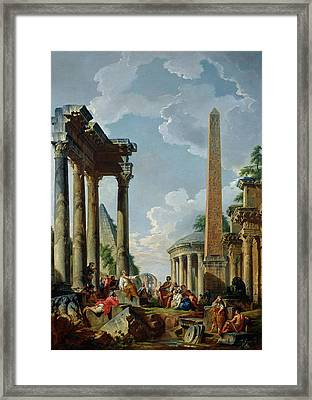Architectural Capriccio With A Preacher In The Ruins Framed Print by Giovanni Paolo Pannini or Panini