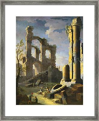 Architectural Capriccio With Figures, Dawn Framed Print