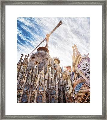 Architectural Details Of The Sagrada Familia In Barcelona Framed Print
