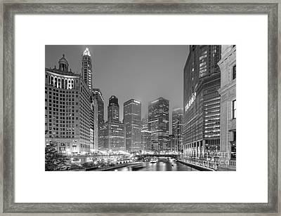Architectural Image Of The Chicago River And Skyline From The Wrigley Building - Chicago Illinois Framed Print by Silvio Ligutti