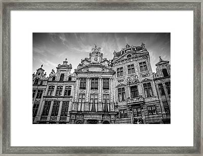 Architecture Of The Grand Place Brussels In Black And White Framed Print