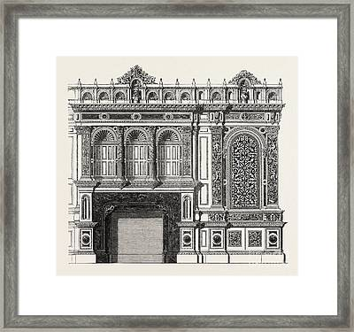 Architecural Plan For The Side Of A Library Framed Print by English School