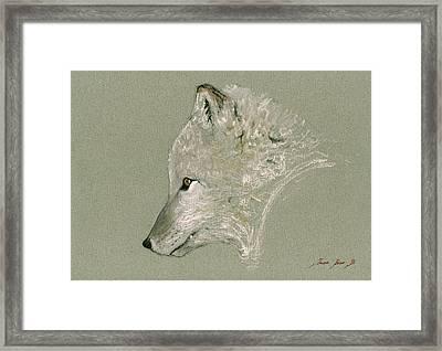 Arctic Fox Head Framed Print by Juan  Bosco