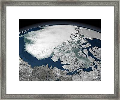 Arctic Sea Ice Above North America Framed Print
