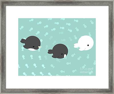 Arctic Whales Framed Print by Kourai