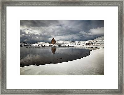 Framed Print featuring the photograph Ardvreck Castle In Winter by Grant Glendinning