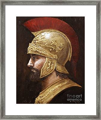 Framed Print featuring the painting Ares by Arturas Slapsys
