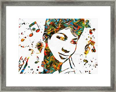 Aretha Franklin Paint Splatter Framed Print