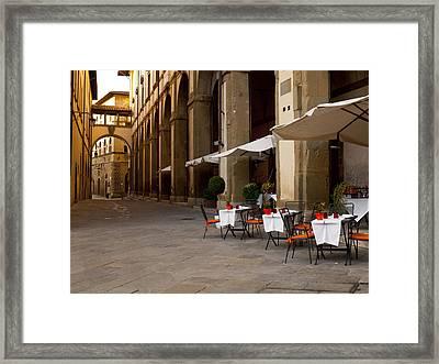 Arezzo Patio Framed Print by Rae Tucker