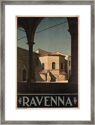 Arian Baptistery In Ravenna, Italy - Vintage Illustrated Poster Framed Print