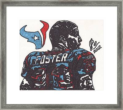 Framed Print featuring the drawing Arian Foster 2 by Jeremiah Colley