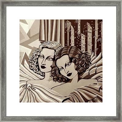 Arielle And Gabrielle In Sepia Tone Framed Print