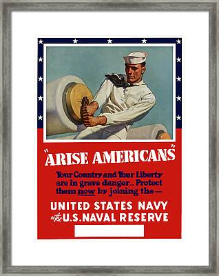 Arise Americans Join The Navy  Framed Print by War Is Hell Store
