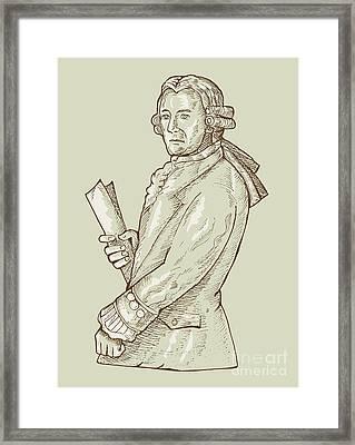 Aristocrat Wearing Wig Framed Print by Aloysius Patrimonio