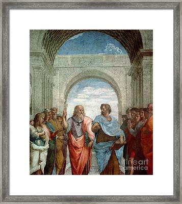 Aristotle And Plato Framed Print by Raphael