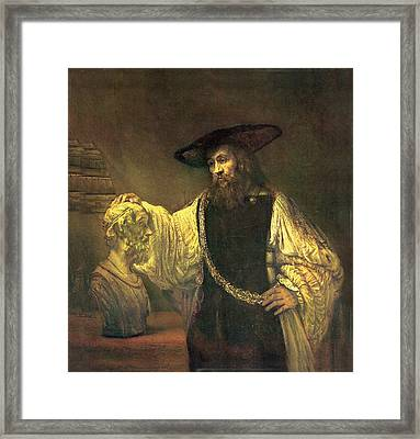 Aristotle Contemplating The Bust Of Homer Framed Print