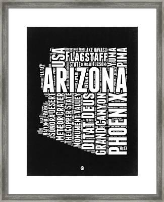 Arizona Black And White Word Cloud Map Framed Print