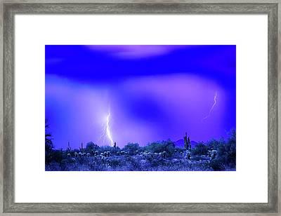 Arizona Blue Hour Desert Storm Framed Print