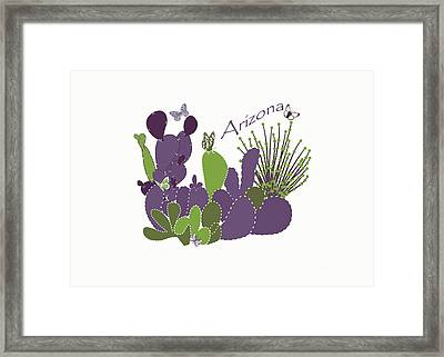 Framed Print featuring the digital art Arizona Cacti by Methune Hively