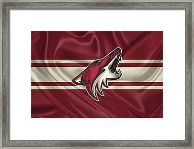 Arizona Coyotes - 3 D Badge Over Silk Flag Framed Print